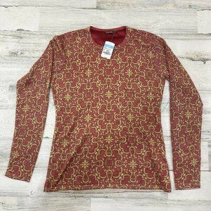 J. McLaughlin Melanie Devon Scroll Blouse Crew Nec